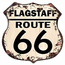 BP-0029 FLAGSTAFF ROUTE 66 Shield Rustic Chic Sign Bar Store Shop Home Decor