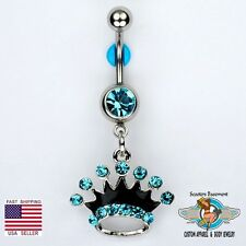 Crown Dangle Belly Button Navel Ring Bar AQUA Princess Piercing Jewelry 14G (E1)