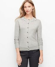 NWT Ann Taylor Jeweled Neck Cardigan Sweater XS Silver Frost Heather Grey