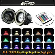 2pcs Car 3 Inch LED Halo Ring White Fog Lights RGB Angel Eyes Projector Bulbs