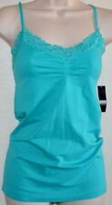 Ladies ATTENTION Seamless STRETCH Aqua Tank Cami Top Shirt Lace V-Neck size S/M
