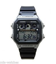 Casio AE1300WH-8A Mens 100M LED Black Resin Sports Watch Stopwatch Alarm NEW
