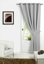 Silver Grey 66'' x 84'' Supersoft Blackout Thermal Ring Top Eyelet Door Curtain