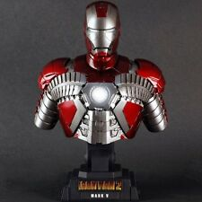 IRON MAN 2 MOVIE MARK 5 HOT TOYS LED BUST STATUE 1:4 COLLECTIBLE MARVEL AVENGERS