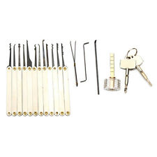 12pcs Unlocking Lock Pick Set with Cross-Shaped Transparent Practice Padlock Loc