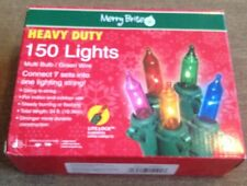 Merry Brite 150 Lights Multi Color Bulb Green Wire 34' Indoor/outdoor Heavy Duty