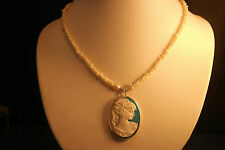 "Nice Necklace With Pearls 16"" Inches Long + Resin Cameo Pendant 4 x 3 Cm. Wide"