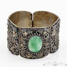 Antique Vintage Deco Sterling Silver Chinese Filigree Jade Jadeite Bracelet!