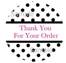 THANK YOU ~ BLACK POLKA DOTS #2 ~   1 INCH STICKER LABELS