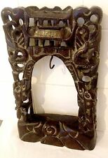 Antique Chinese Hand Carved Wood & Silver Inlay Bell Gong Suspension ft. Dragons