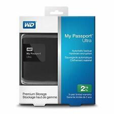 WD My Passport Ultra 2TB Portable External Hard Drive Black WDBBKD0020BBK SEALED