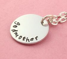 Godmother Necklace - Handstamped Necklace - Baptism Gift for Godparent