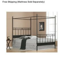 Four Poster Bed Frame Full Size Canopy Metal Black Bedroom Furniture Headboard