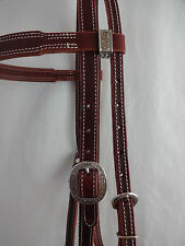 Double Stitched Heavy Latigo Leather Headstall Jeremiah Watt Conchos Horse Tack