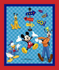"""DISNEY MICKEY MOUSE FRIENDS ON THE GO 35"""" PANEL  PLUTO GOOFY DONALD  100% FABRIC"""