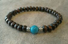 Mens Genuine Turquoise Gemstone Brown Wooden Beaded Surfer Bracelet Stretchy