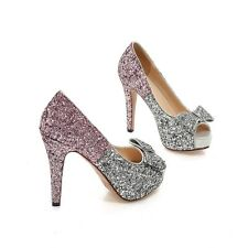 Womens Hot Sequins Bling Wedding High Heels Open Toe Party Shoes Bowknot Pumps