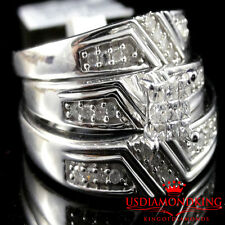 Genuine Real Diamond Trio Set Engagement Ring Wedding Band Prince Cut .33CT New