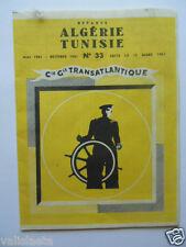 PROSPECTUS COMPAGNIE GENERALE TRANSATLIQUE CGT ALGERIE TUNISIE 1961