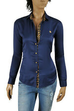 ROBERTO CAVALLI Ladies Button Up Dress Shirt Blouse Navy Blue #336, Size Medium
