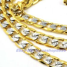 "23.6""7mm30g REAL TOP MEN 18K YELLOW WHITE GOLD GP CURB NECKLACE SOLID FILL CHAIN"