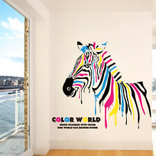 Colorful Zebra Horse Wall Stickers Decals Home Decor Art Removable Vinyl Murals