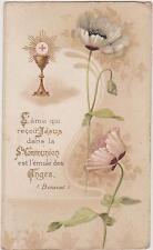 IMAGE PIEUSE HOLY CARD SANTINI FLEUR DE PAVOT ROSE PALE/Phrase de BOSSUET/CALICE