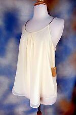 NEW RACHEL ROY cream chiffon metal chain straps blouse top shirt tank top M