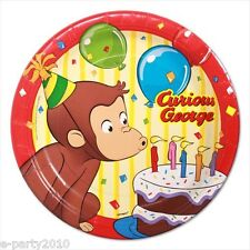 CURIOUS GEORGE SMALL PAPER PLATES (8) ~ Birthday Party Supplies Cake Dessert