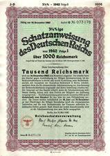 Original Germany NAZI State Deutschen Reichs 1942 Bond 1000 RM Uncancelled