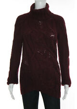THEYSKENS' THEORY Maroon Red Cable Knit Wool Long Sleeve Turtleneck Sweater Sz S