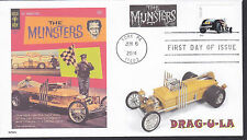 THE MUNSTERS  COFFIN CAR  DRAG-U-LA   HOT RODS  2014 FDC- DWc CACHET