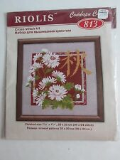 "Riolis Cross Stitch Kit Floral Design 7 3/4"" Sq Combobu Cana  Russia 2006 NOS"
