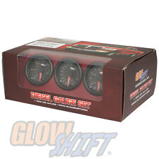 Black 7 Color Diesel Gauge Set - Boost, Pyrometer EGT, 100 Fuel Pressure