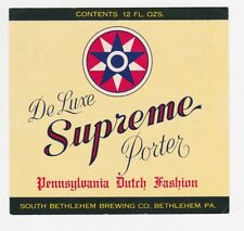 De Luxe Supreme Porter Beer Label