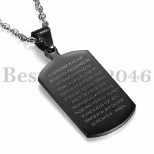 Stainless Steel Dog Tag Pendant Lord's Prayer in English Mens WOMENS Necklace