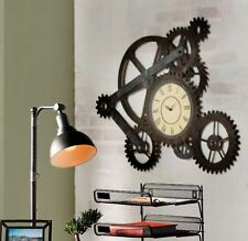 Vintage Clocks For Walls Art Large Retro Rustic Metal Gears Roman Numeral Home