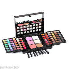 Womens Eye Shadow Lip Gloss Blusher Palette Full 78 Colors 8Brushes Makeup Kits
