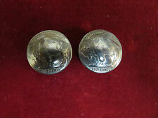 Conchos: 2 Real Coin High Grade Buffalo Nickles, post & screw