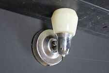 ANTIQUE CHROME PLATED ART DECO WALL SCONCE W/ YELLOW SHADE 7004