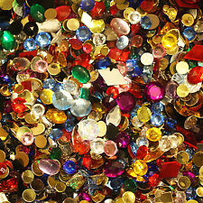 Rhinestone Gems Acrylic Flat Back Jazzy Mix Assorted Shapes and Colors 100gm bag