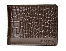 NEW CALVIN KLEIN BROWN LEATHER SLIMFOLD CREDIT MEN'S SLIM WALLET KEY FOB 79541