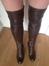New Ladies brown faux leather stretchy over knee high boots sz uk 7 eur 40