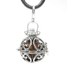 NEU 925 Silber KLANGKUGEL 100cm HALSKETTE bronze/braun 16mm KUGEL Ball Qi Gong