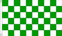 3' x 2' GREEN and WHITE CHECK FLAG Checkered Checked