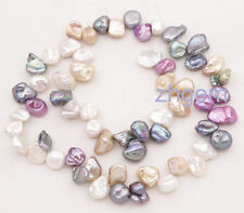 "8*9mm-11mm Multi-color baroque keshi pearl top drilled loose beads 15"" strand"
