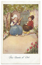 FLORENCE HARDY The Dawn of Love, Dutch Children, Postcard by Faulkner Unused