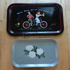 "2 VTG Hand Painted Metal Serving Trays - ""Daisy, Daisy Give Me Your Answer, Do"""