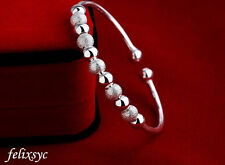 Women Fashion jewelry 925 Sterling silver 9 beads Expand bangle bracelet UK gift
