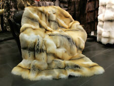316 XXL Golden island fox Genuine Fur blanket - SAGA quality Throw